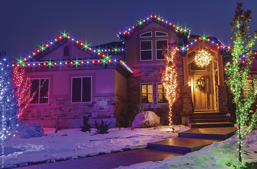 multicolored christmas roof lights exterior lighting ideas