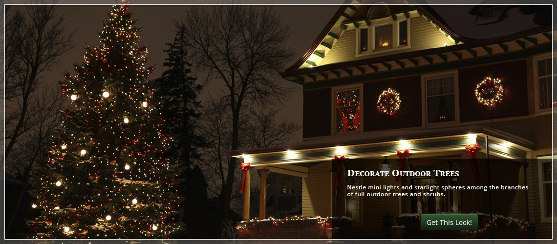 outdoor christmas yard decorating ideas - Hanging Lighted Christmas Decorations