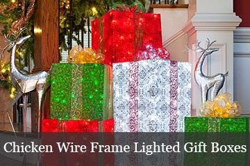DIY lighted gift boxes using a chicken wire, string lights and Christmas fabric.