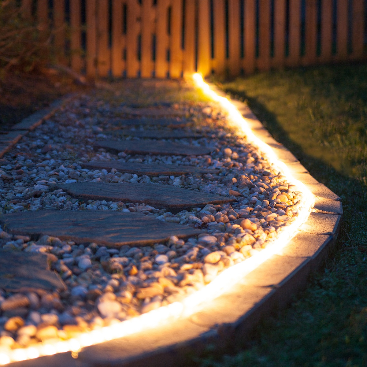 walkways illuminated with rope light