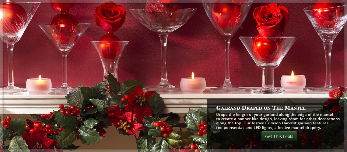 drape Christmas garland across the mantel