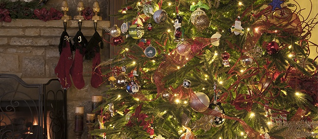 Christmas ornaments on a tree
