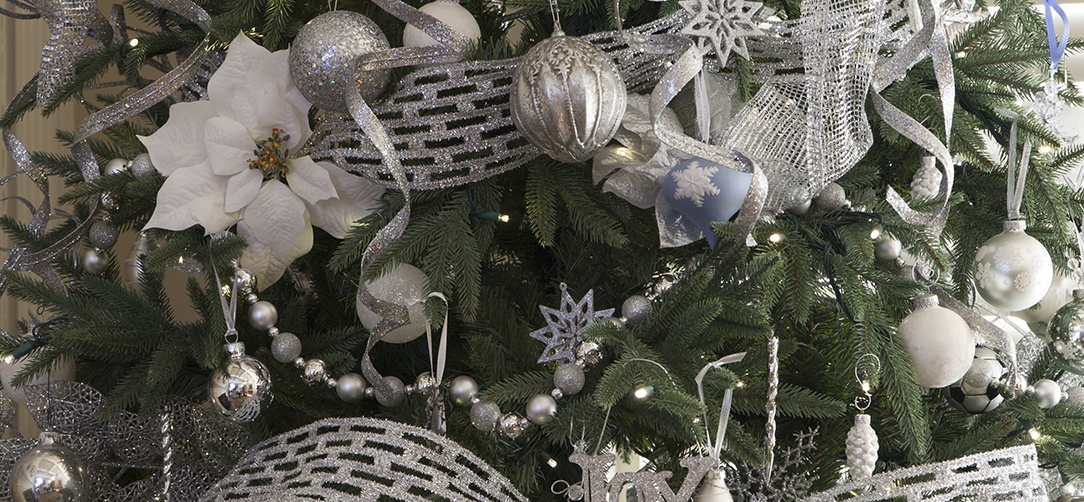 silver white and blue christmas ornaments