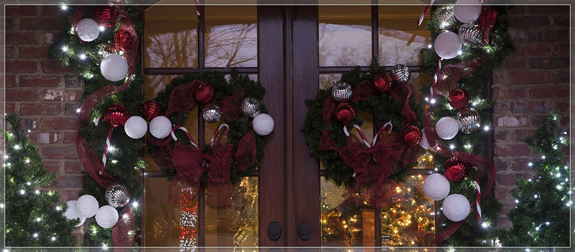 Place two wreaths on double doors