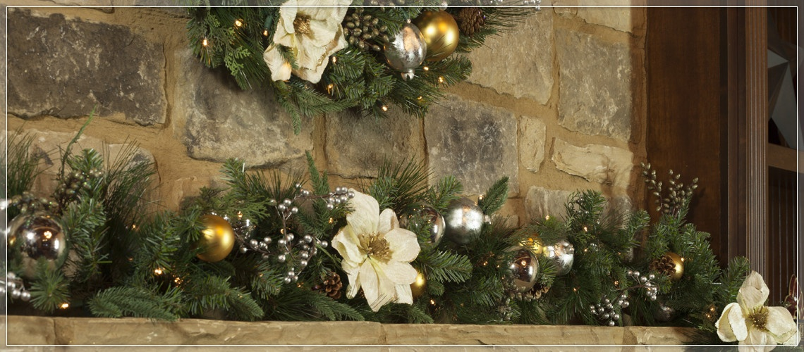 Decorative garland laying across the mantel