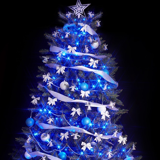 White Christmas Tree With Blue Lights.Blue Christmas Lights