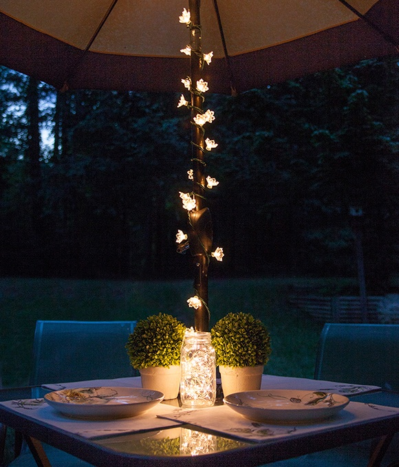 Outdoor Umbrella With Lights Patio string lights and bulbs backyard patio dining umbrella lights and mason jar lights centerpiece workwithnaturefo