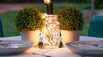 Mini Lights Mason Jar Table Centerpiece