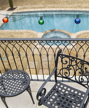Multicolor Globe Lights Hanging on an Outdoor Patio