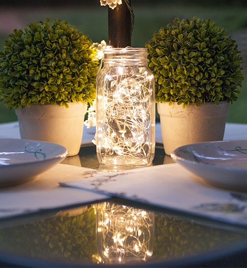 Mason Jar Lights Centerpiece
