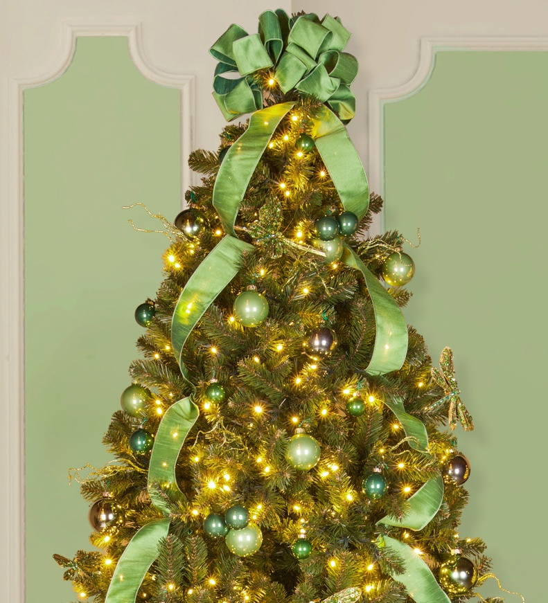 all green christmas tree decorations