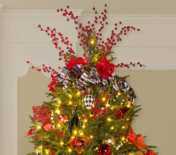 christmas tree topper made with decorative picks and coordinating ribbons - Decorative Picks For Christmas Trees