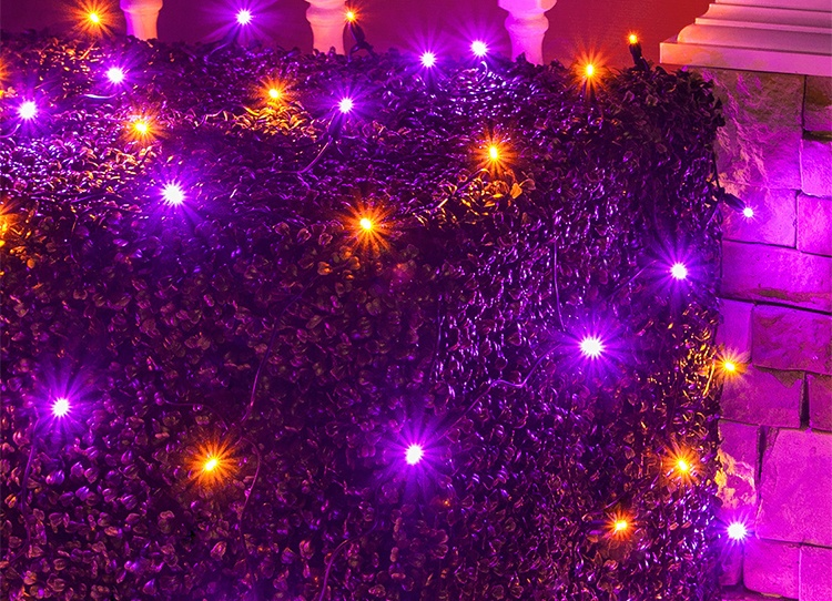 Orange and Purple Halloween Themed LED Net Lights