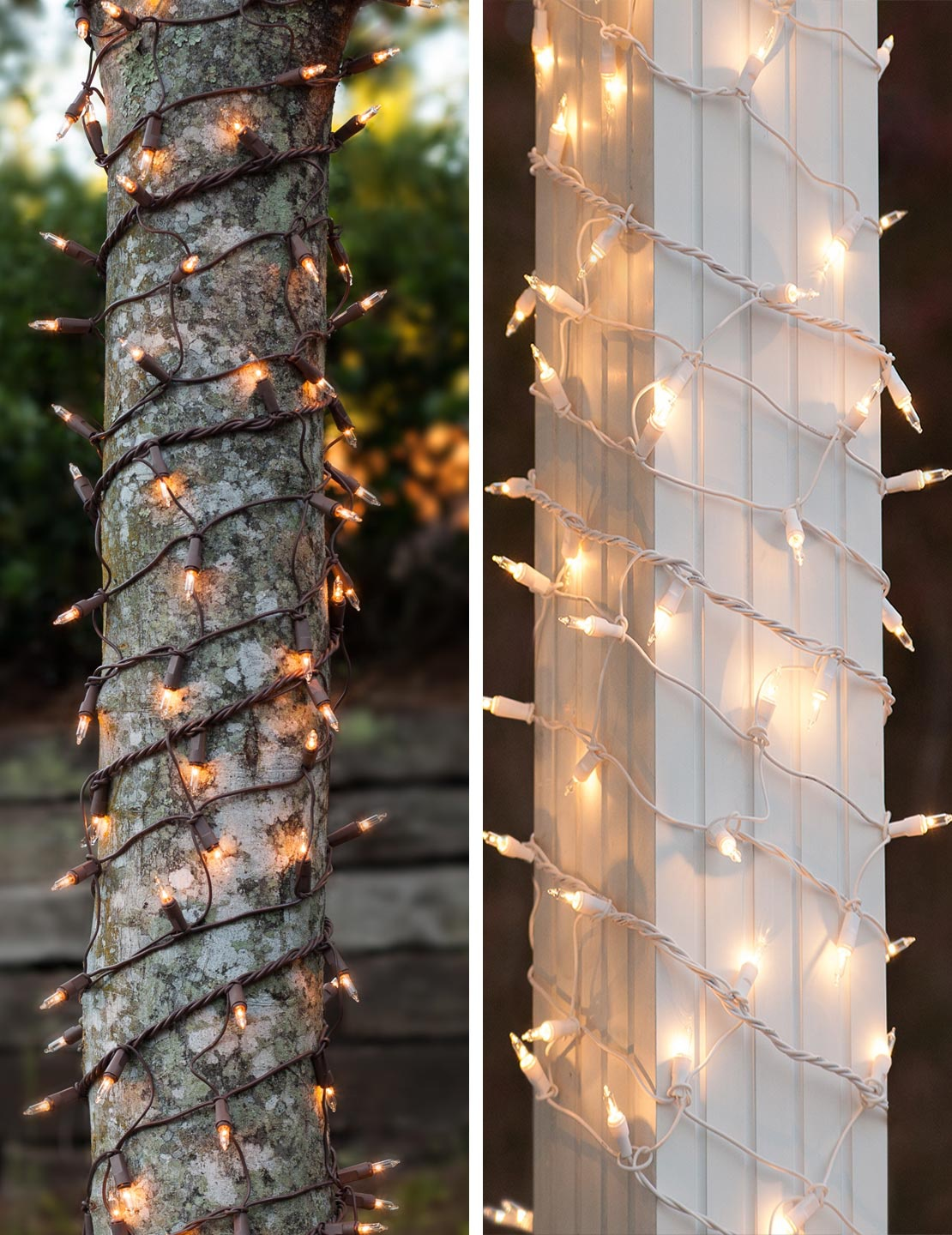 Christmas Light Wraps for Tree Trunks and Columns
