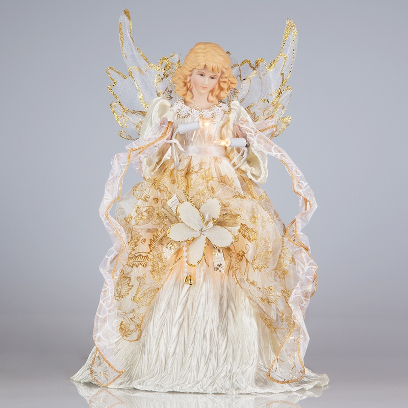 Angel Christmas Tree Topper with Ivory Gown and Gold Accents