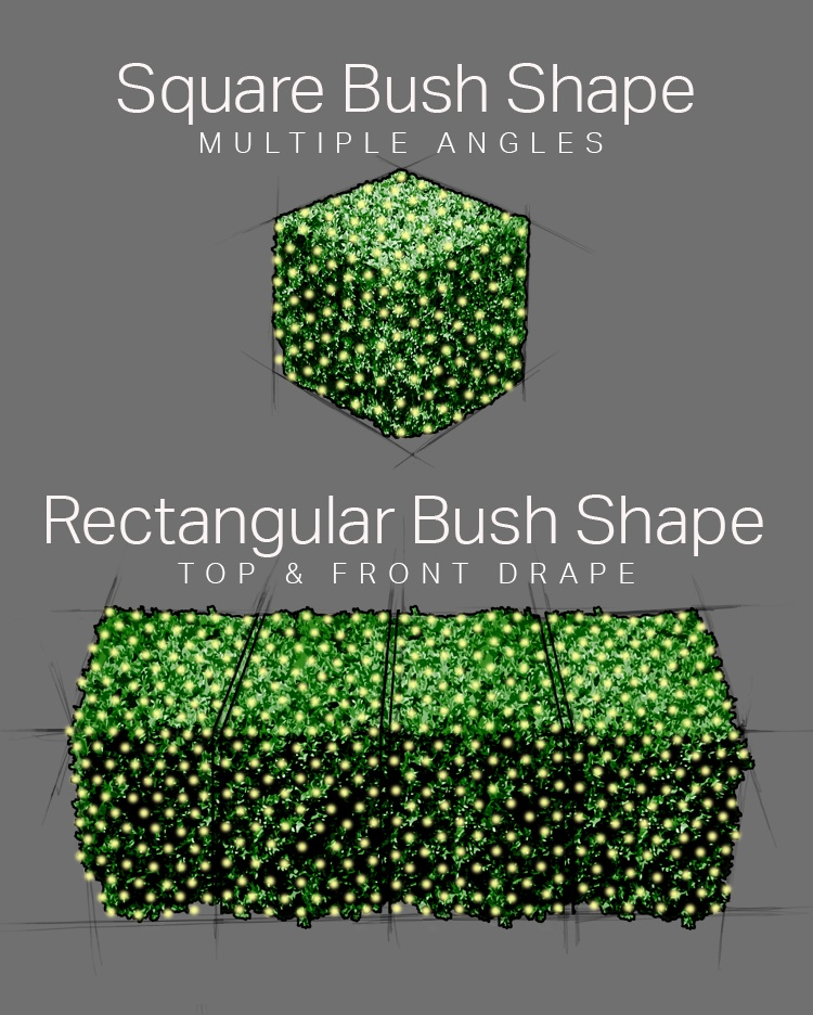 How to Wrap Square Bushes With Net Lights