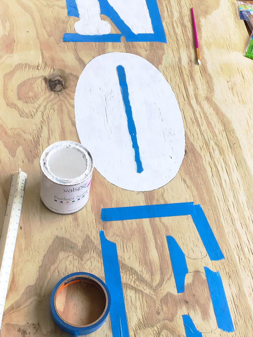 Painting DIY Marquee Stencil Letters