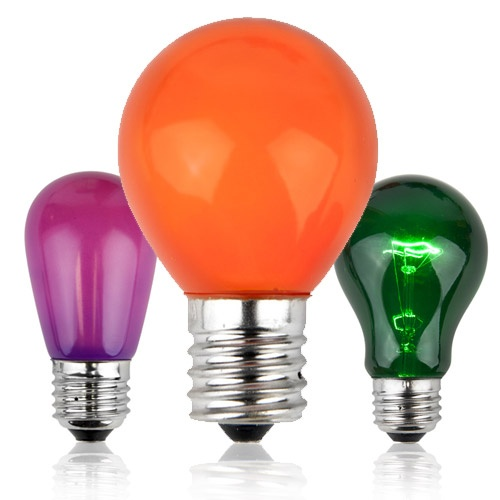 green purple and orange halloween light bulbs - Halloween Light Bulbs