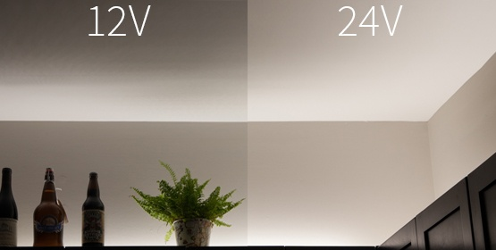 Pure White Strip Light 12V vs. 24V brightness comparison