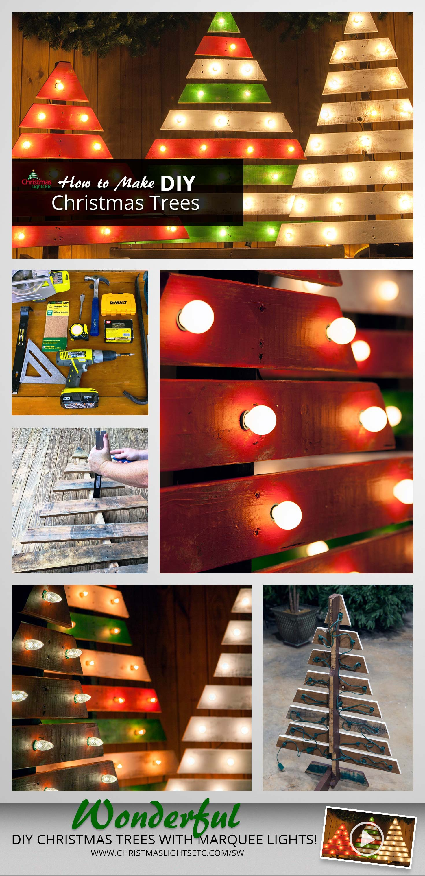 How to Make a DIY Christmas Tree Using Pallets and Marquee Sign Lights
