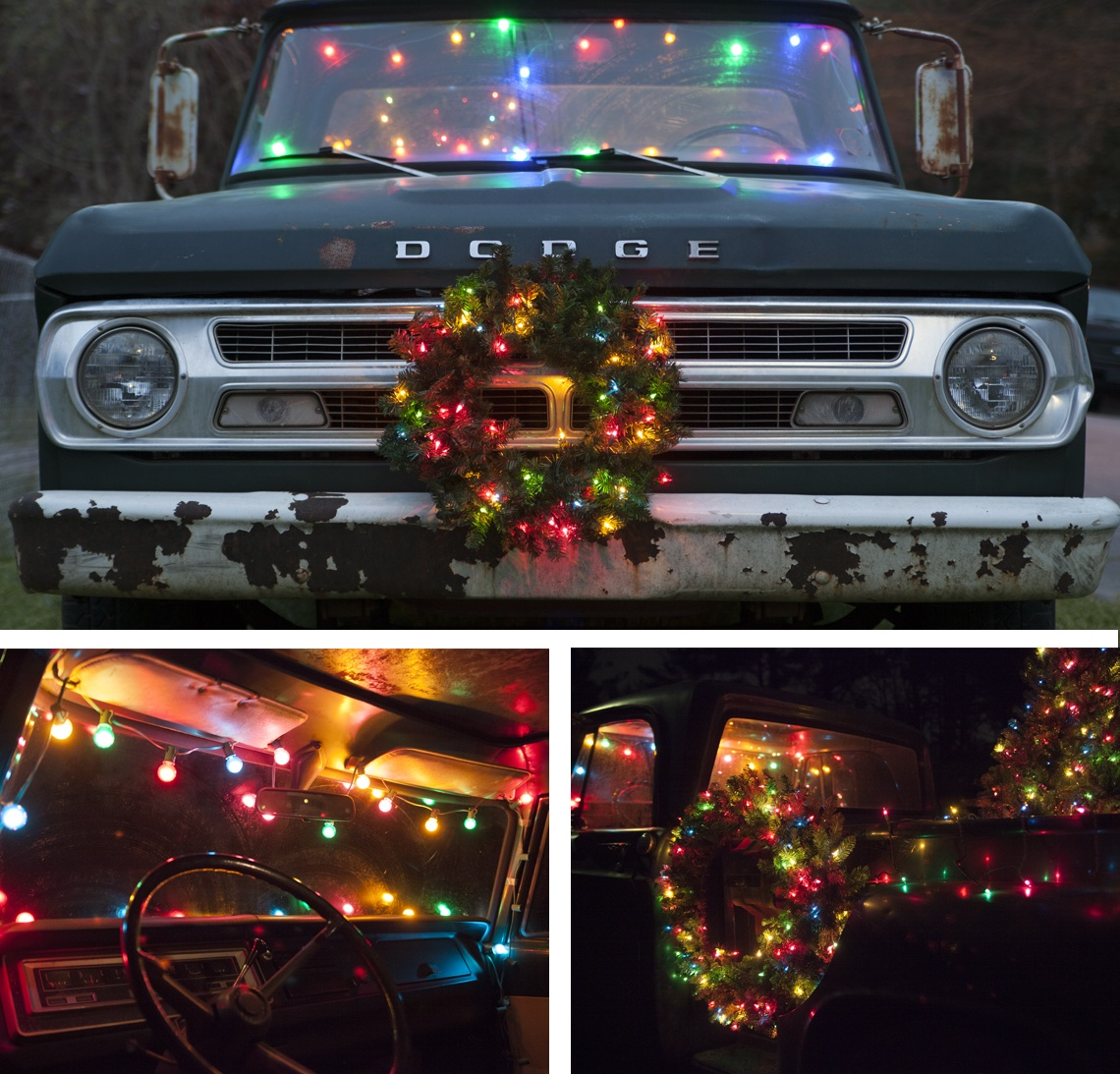 christmas car decorations a beat up old truck finds new purpose