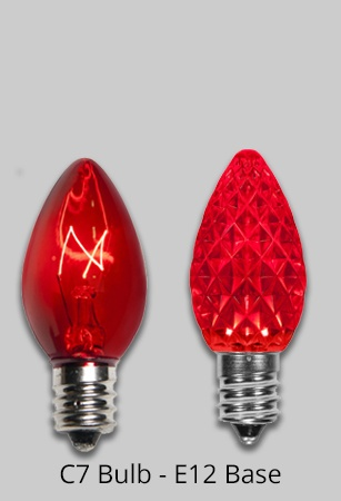 C7 Red Christmas Light Bulb