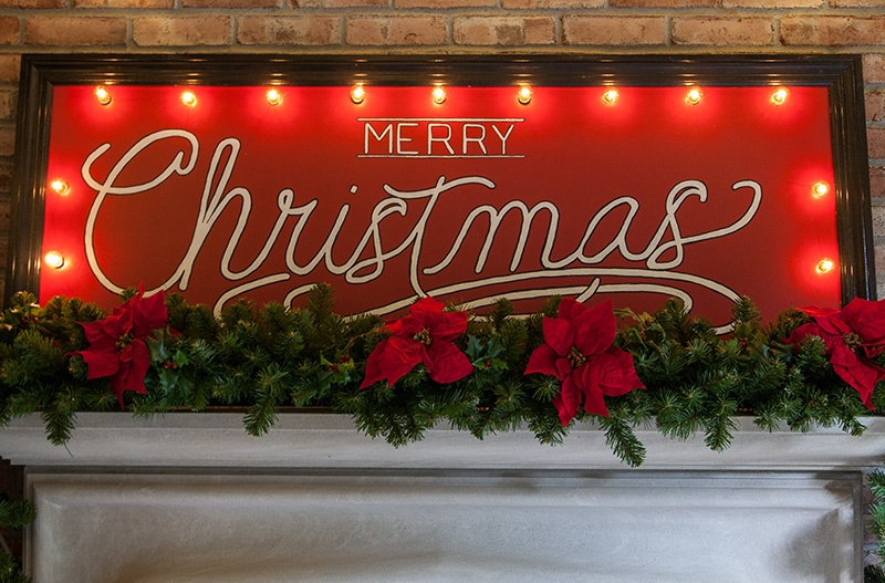 Merry Christmas Sign with Globe Lights - Cheerful Christmas Mantel Decoration!