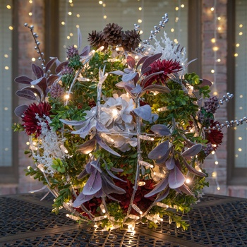 Christmas Flower Light Ball Holiday Centerpiece