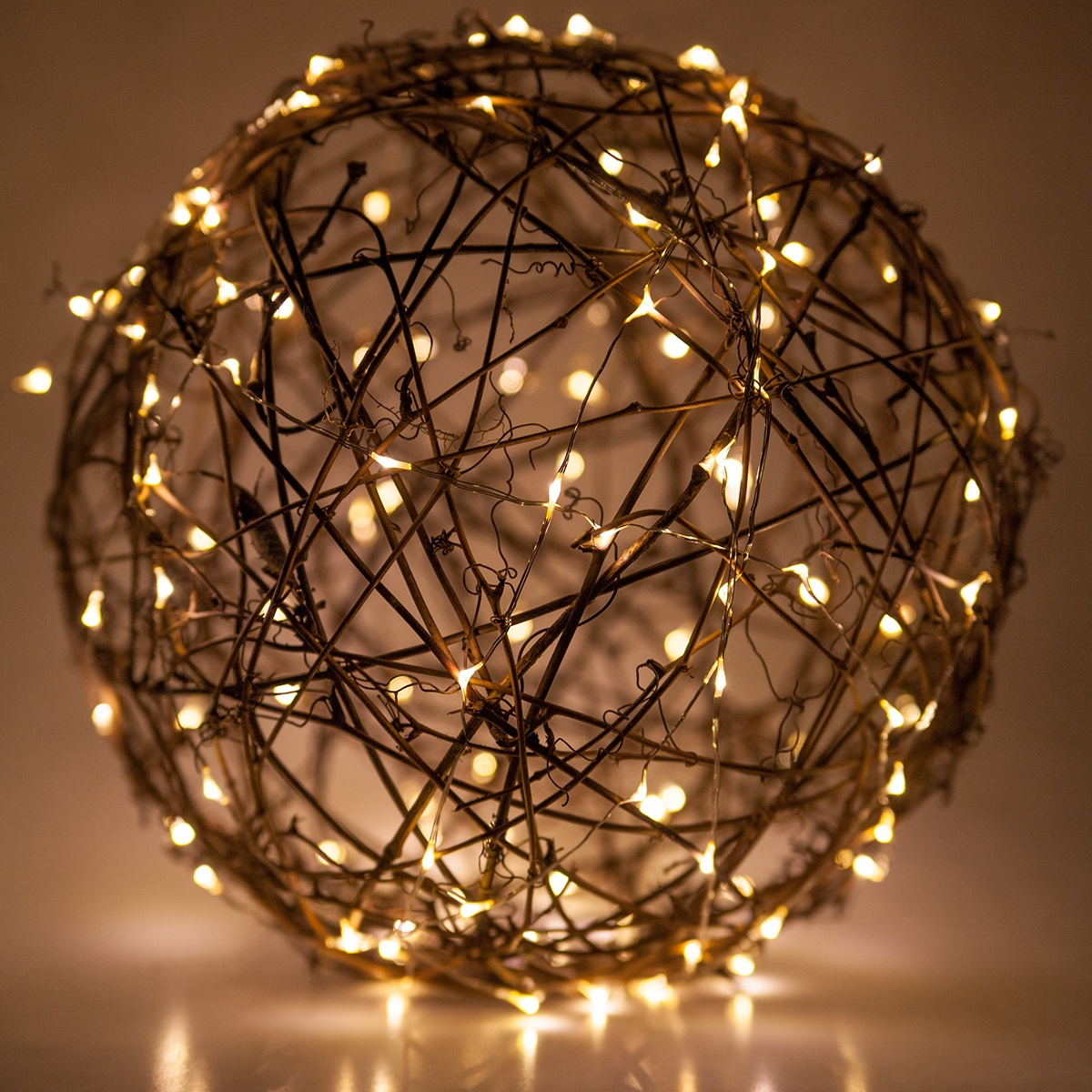 Grapevine Ball Wrapped with Fairy Lights