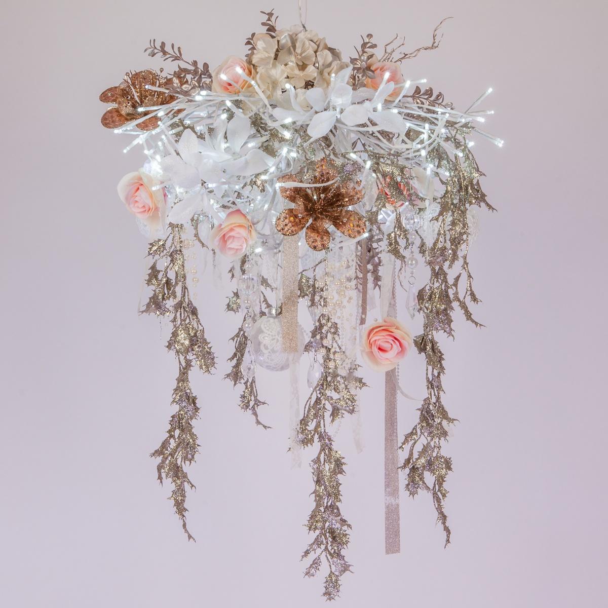 Rose Gold & White Wedding Decor -  DIY Flower Chandelier