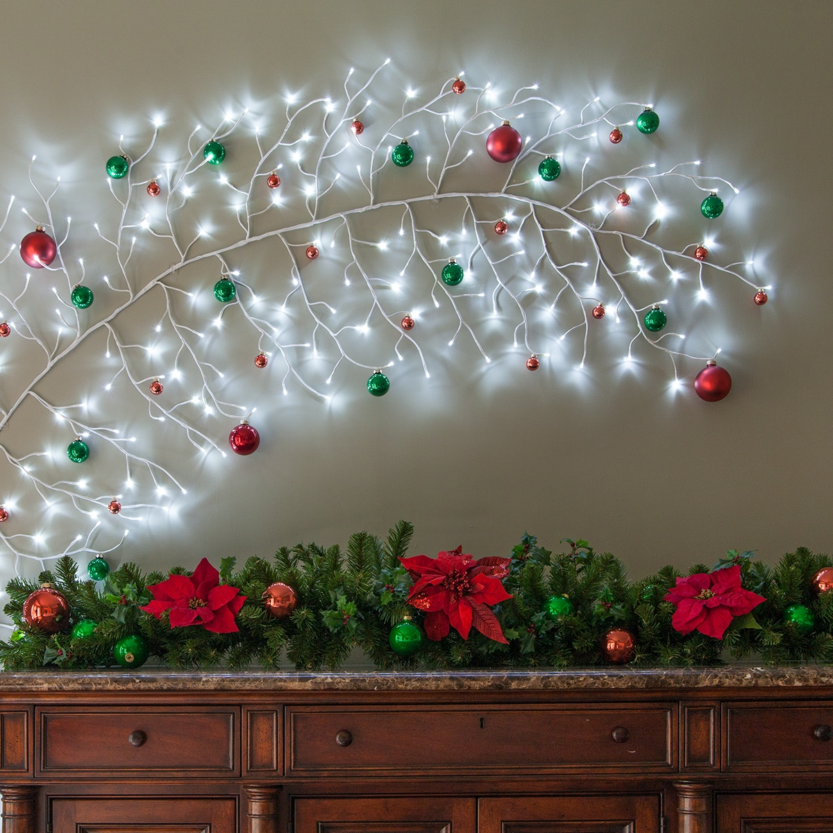 Climbing Vine Lighted Branch Christmas Wall Art