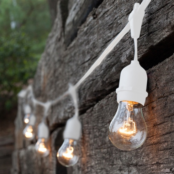 Patio string lights with suspended sockets