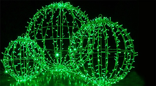 Green Christmas Light Balls