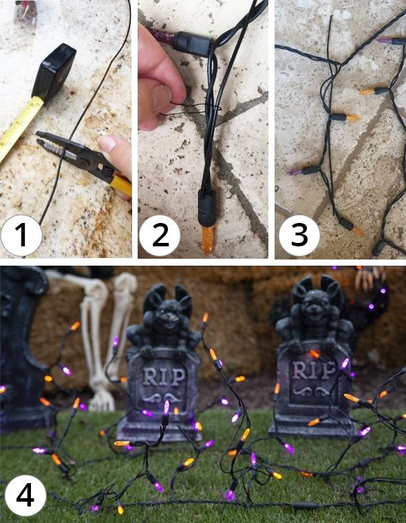 Spooky Graveyard Halloween Icicle Lights DIY Idea