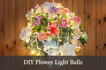DIY Flower Christmas Light Balls