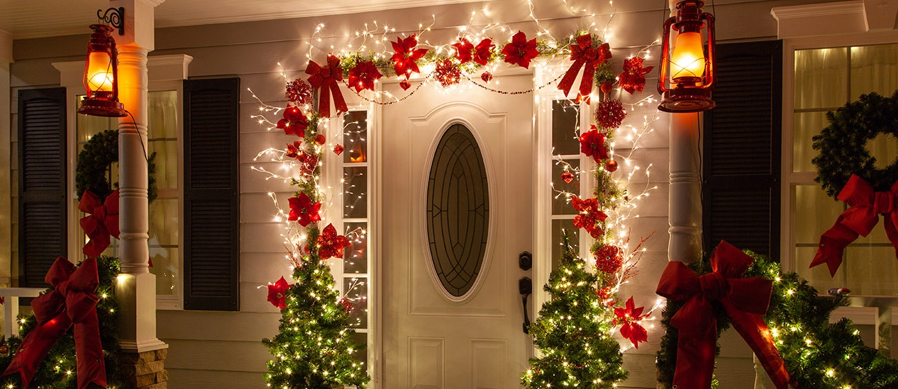 Lighted Branches Christmas Door Decoration