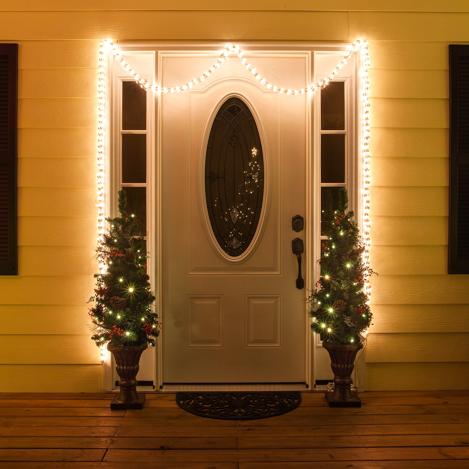 Garland Lights Christmas Door Idea