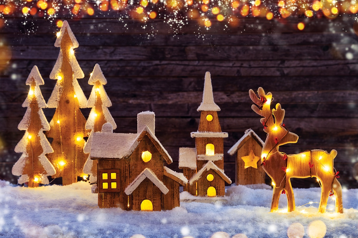 Christmas Lights and Village Mantel Decorations