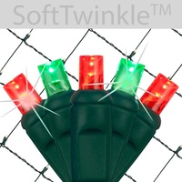 Red & Green SoftTwinkle LED Net Lights