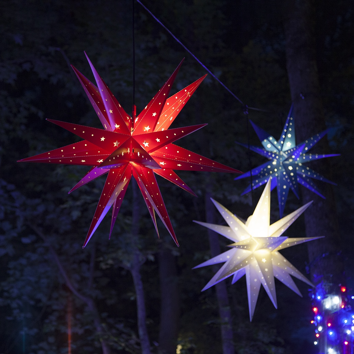 Patriotic Moravian Star Light Decorations