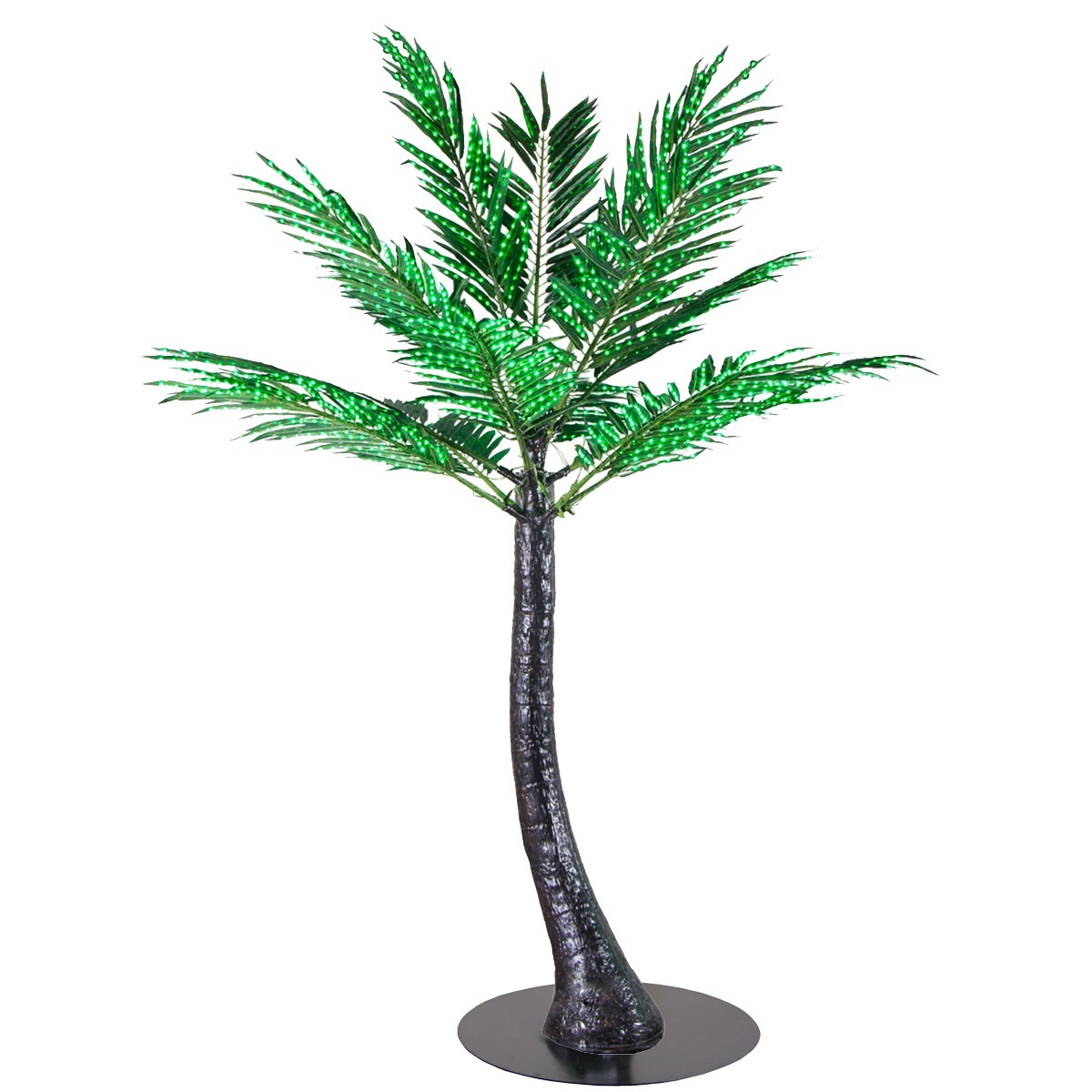 Curved Lighted Palm Tree with Base