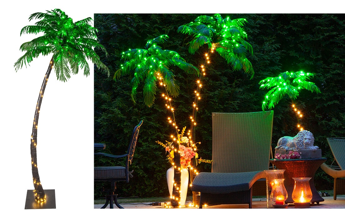 Curved LED Lighted Palm Trees