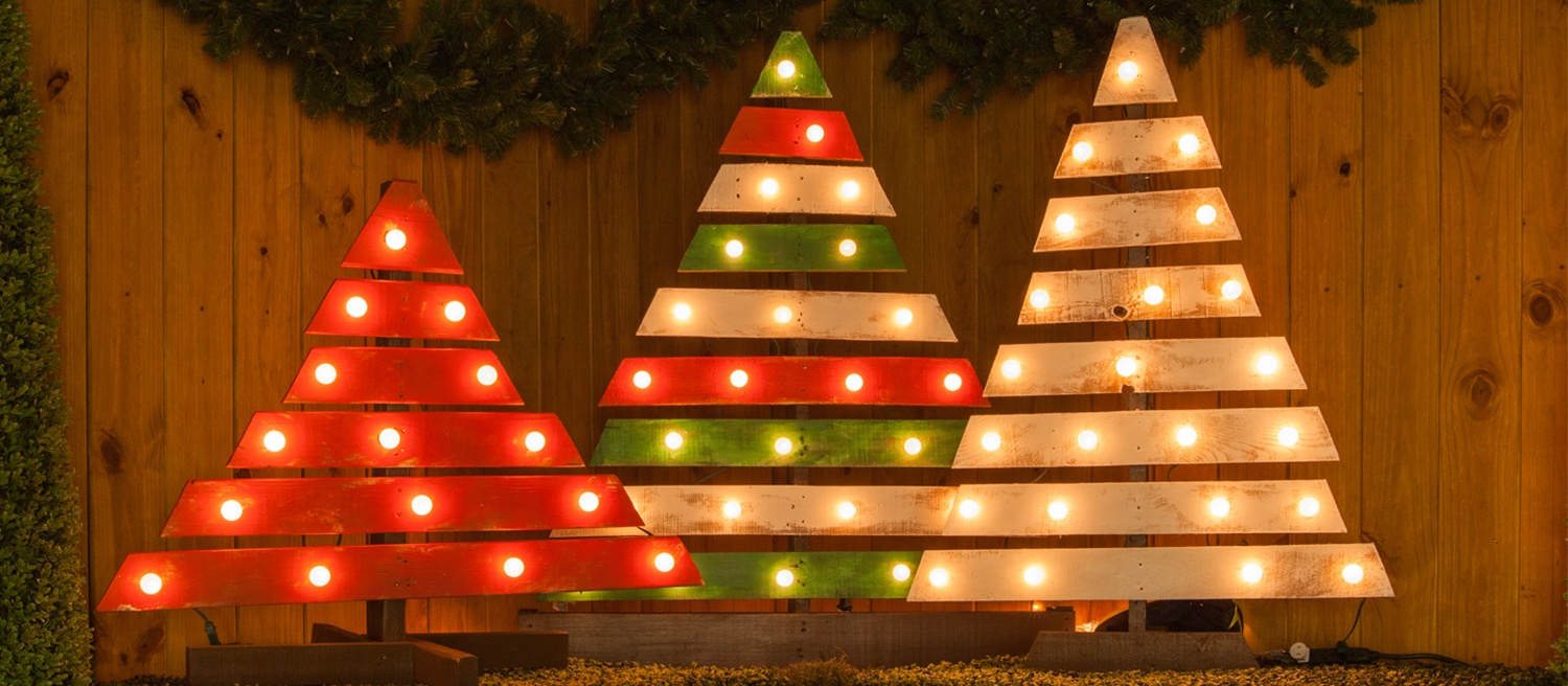 DIY Marquee Light Trees