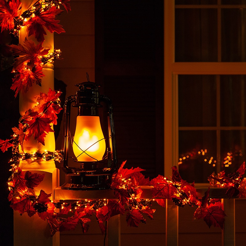 Halloween Garland and Lantern Lights Porch Decorations