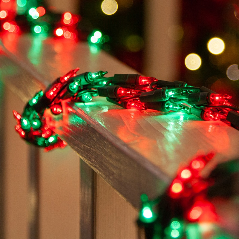 Red & Green Christmas Garland Lights