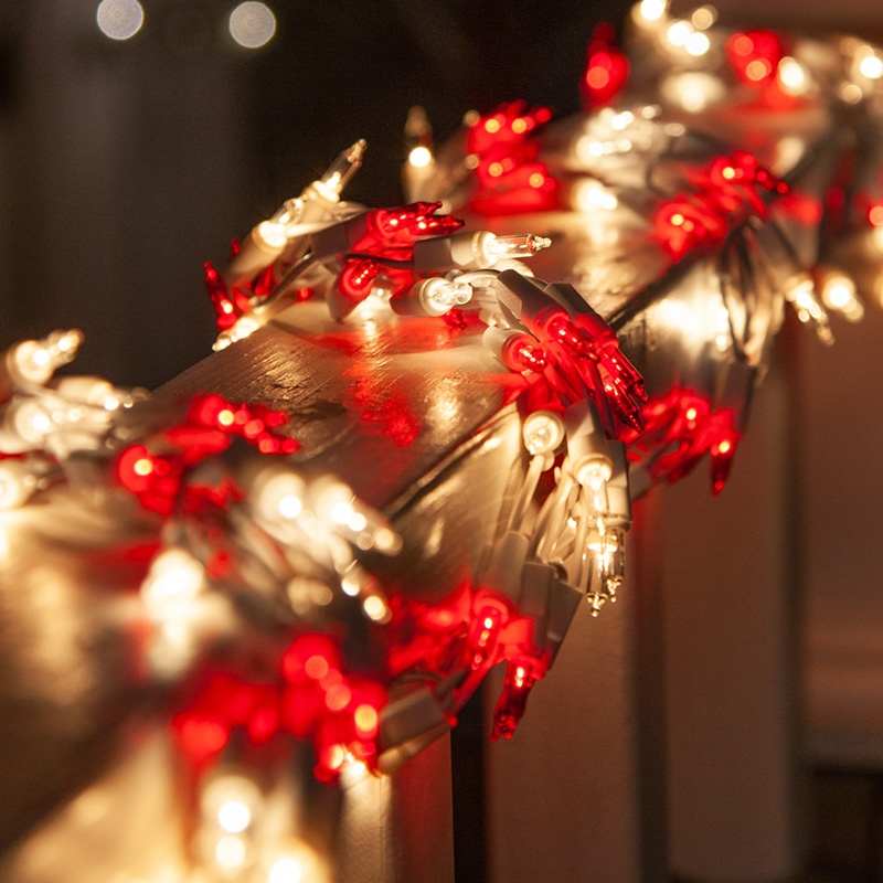 Red & White Christmas Garland Lights