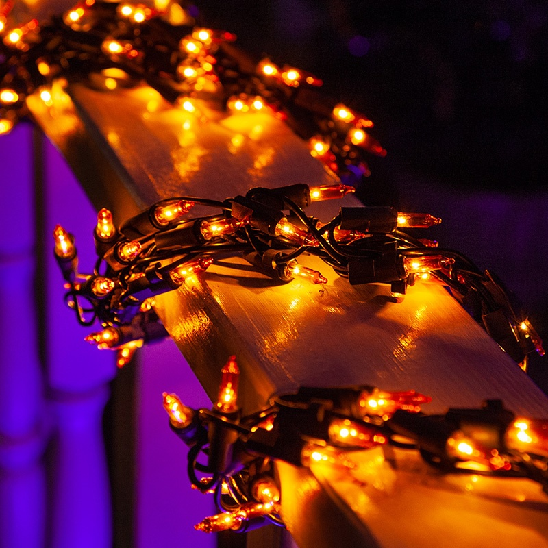Amber Halloween Garland Lights