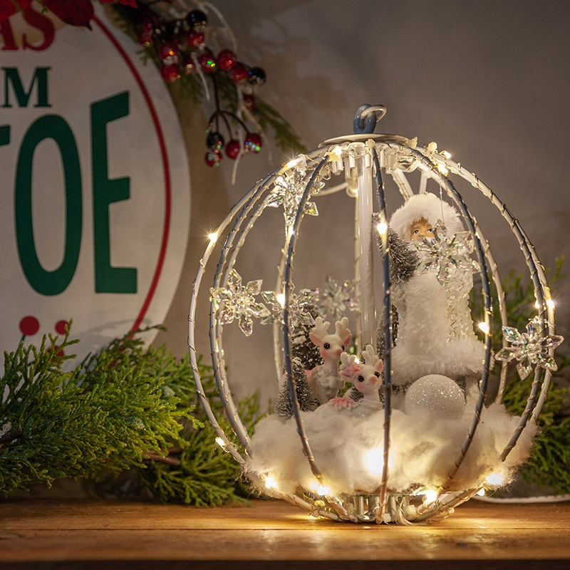 Christmas Mantel Decoration - DIY snowglobe with santa and reindeer made using a light ball!