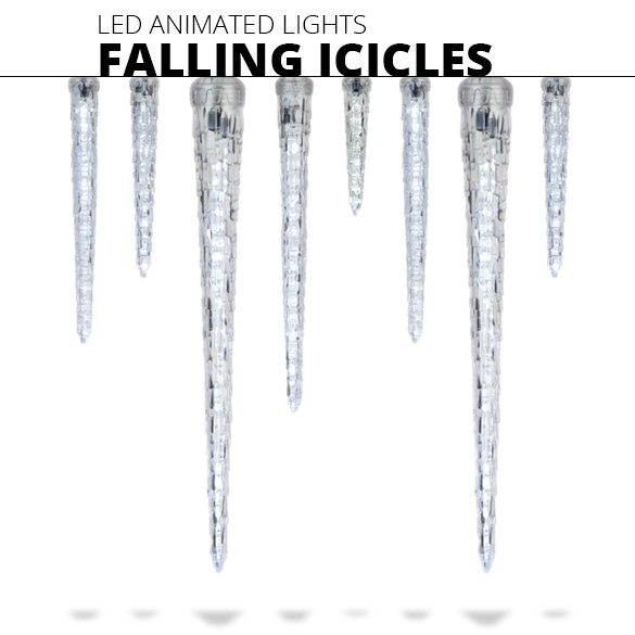 Falling Icicle Christmas Lights
