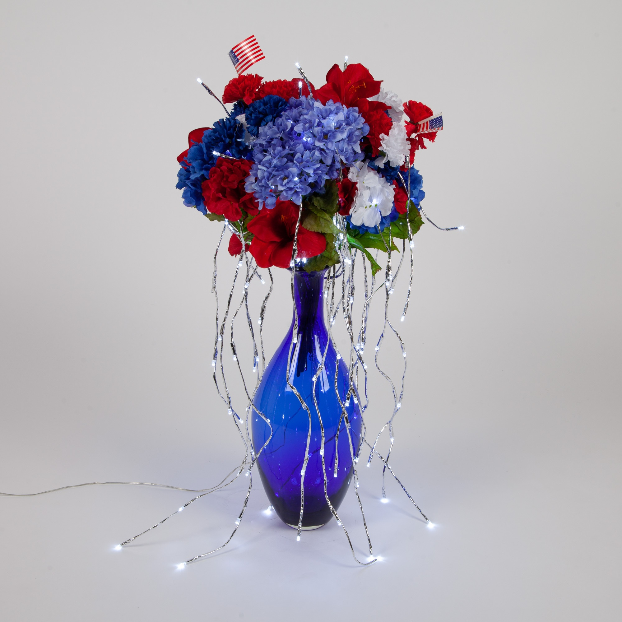 Patriotic Lighted Branches Floral Arrangement